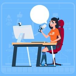 Girl Blogger Sit At Computer Streaming Video Blogs Creator Popular Vlog Channel Flat Vector Illustration