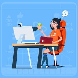 Girl Blogger Sit At Computer Streaming Video Blogs Earn Money Creator Popular Vlog Channel Flat Vector Illustration