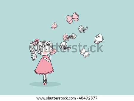 girl blowing butterflies