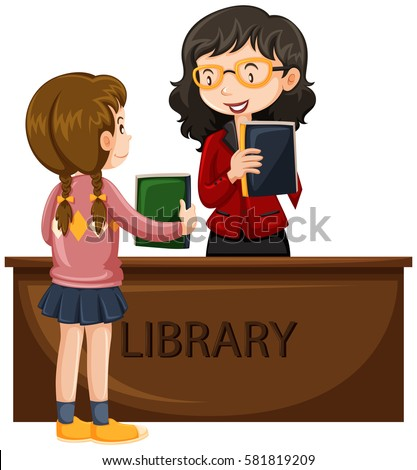 Girl borrowing book from library illustration