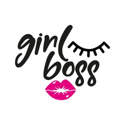 Girl Boss - Vector eps poster with eyelash and pink lips. Brush calligraphy isolated on white background. Feminism slogan with hand drawn lettering. Print for poster, card.