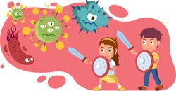 Girl, boy kids holding swords, shields fight corona virus and bacteria together. Children protecting health from germs. Medicine, immunity, epidemic & covid disease prevention. Flat vector illustratio