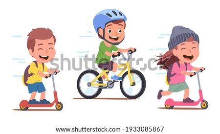 Girl, boys kids cyclists enjoying riding bicycle and kick scooters on path. Happy children riders cartoon characters having fun. Sports, transportation entertainment. Flat vector isolated illustration