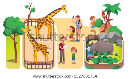 Girl & boys kids & parents taking photos, feeding animals in zoo. Families with children enjoying visiting zoo watching giraffes, rhinoceros, parrot. Parenting & nature. Flat vector illustration