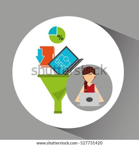 girl brunette using computer