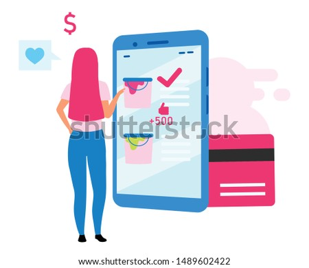 Girl buying paint online flat vector illustration. Woman choosing paint color using mobile shopping application cartoon character. Digital purchase, e-commerce. Consumerism and merchandise