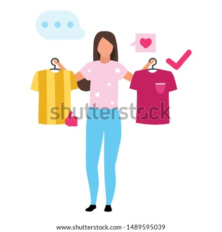 Girl buying t shirt flat vector illustration. Woman making decision, consumer in mall buying clothes cartoon character. Customer in clothing store doing purchases. Consumerism and merchandise
