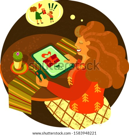 Girl buys a present. Gift on new year. Christmas deals. Vector illustration. Flat style. Online shopping. Desktop with gadget, cactus and credit card.