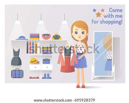 girl buys clothes on shopping