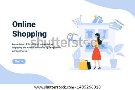 Girl buys clothes used online store. Delivery, card payment, gifts. Flat concept vector illustration for landing page, web, poster, banner, flyer, layout, template.