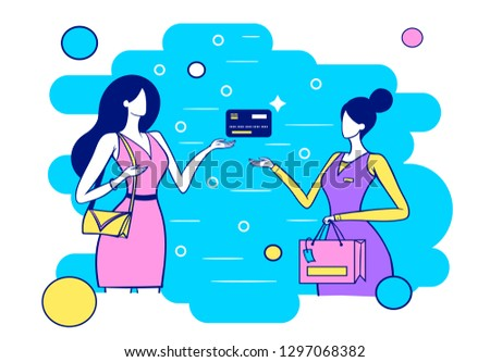 girl buys goods by credit card,
