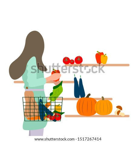 Girl buys vegetables. In cartoon flat style