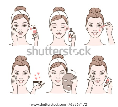 Girl cares about her face. Different facial treatment procedures. Line style vector illustration.