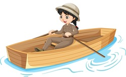 Girl cartoon character rowing the boat isolated illustration