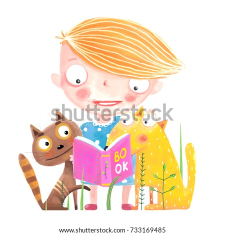 Girl Cat and Dog Reading Book. Funny animals and child studying. Vector cartoon.