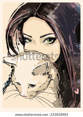girl cat fashion illustration