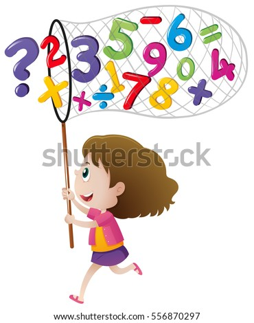 Girl catching numbers with net illustration