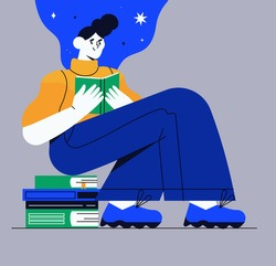 Girl character reading a story while sitting on a pile of different books. Concept of online library or listen online, world book reading or literacy day for banner, article or social media blog post.