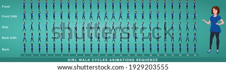 Girl Character Walk Cycle Animation Sequence. Frame by frame animation sprite sheet of  woman walk cycle. Girl walking sequences of Front, side, back, front three fourth and back three fourth.