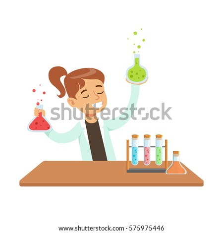 Girl Chemist and Chemical Experiment, Kid Doing Science Research Dreaming Of Becoming Professional Scientist In The Future