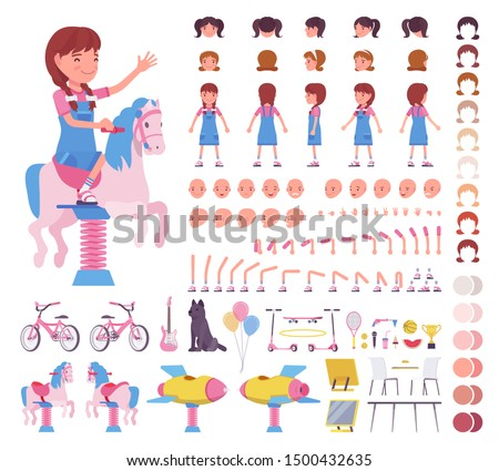 Girl child 7, 9 years old, school age kid construction set, active schoolgirl in summer wear, fun and activities creation elements to build your own design. Cartoon flat style infographic illustration