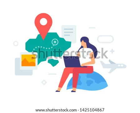 Girl chooses a tour tour. Buying tickets icon, illustration. Smartphones tablets user interface social media.Flat illustration Icons infographics. Landing page site print poster. Eps vector.