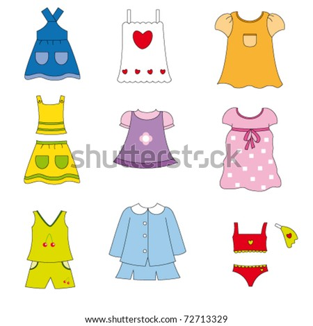 Girl clothes for spring and summer - stock vector