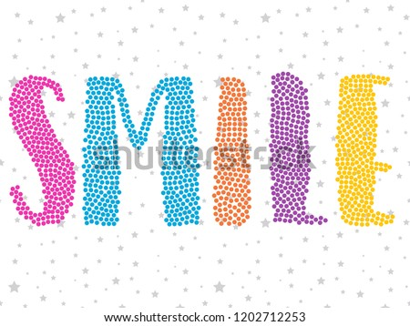 girl color text glitter star pattern tee illustration art vector