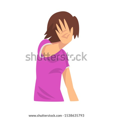 Girl covers her face with her hand, hides cartoon vector illustration