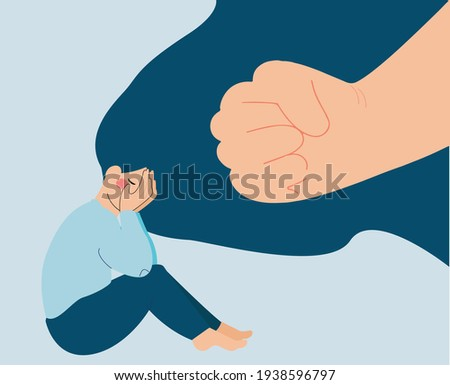 Girl crying scared because of abuse. Stop bullying women card. Depressed young female flat character. Abuse children concept. Stop gender violence concept. mental disorder problem. Vector illustration