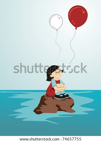 Girl crying sitting on a rock while loose balloons in the colors of Japan