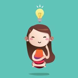 girl cute vector character cartoon thinking idea