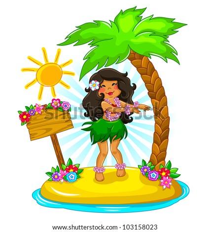girl dancing hula on a tropical island