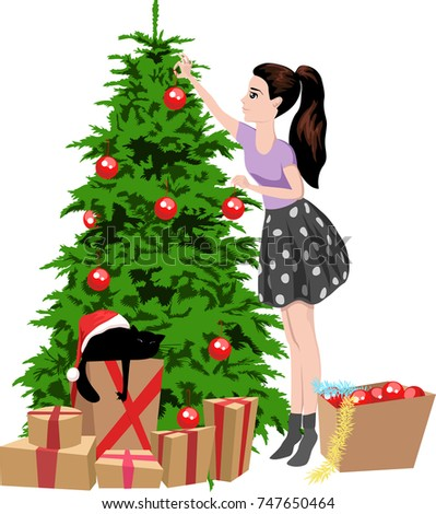 girl decorates the christmas