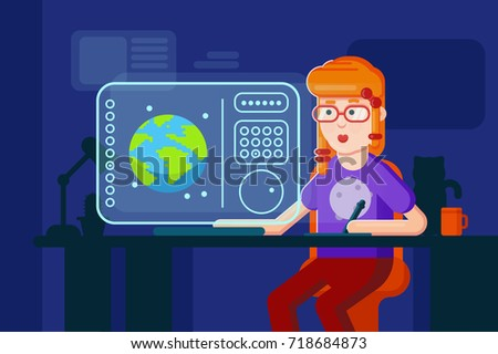 Girl designer vector flat illustration working process. Freelancer programmer works at the computer in night shift at home. Future technology device shows design process on the screen.