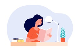 Girl diary. Woman write journal. Student studying with book. Teenager draws in cute paper notebook. Vector female character illustration