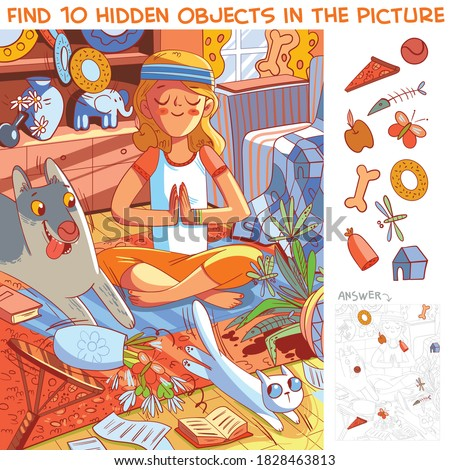 Girl does yoga while her pets destroy the house. Find 10 hidden objects in the picture. Puzzle Hidden Items. Funny cartoon character Stock photo ©