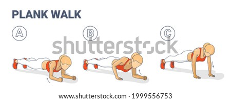 Girl Doing Woman Doing Plank Walk Up Exercise Fitness Home Workout Guidance Illustration. Walking Plank Up-downs Sports Exercise for Women Abs and Core Training. Plank to Push Ups Movement Instruction