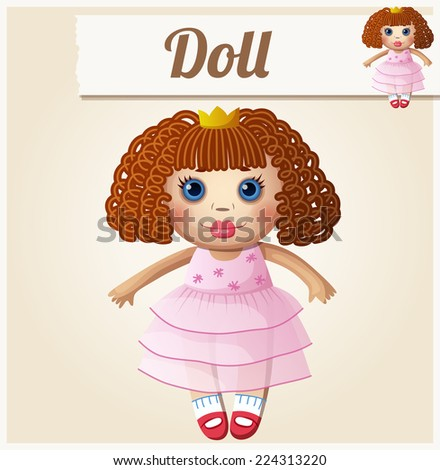 girl doll cartoon vector