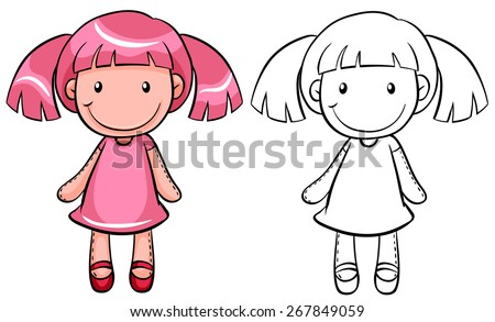 girl doll with pink hair