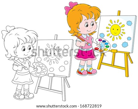 Girl drawing a picture with a smiling sun and clouds - stock vector