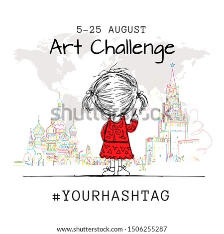 Girl draws Moscow city, art challenge poster design