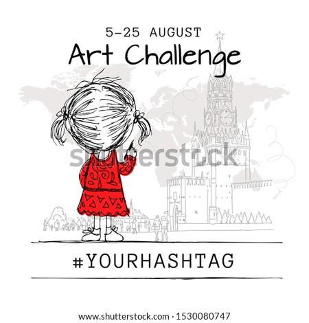 Girl draws Moscow city, art challenge poster design. Vector illustration