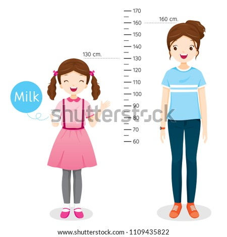Girl Drinking Milk For Health. Milk Makes Her Taller. Girl Measuring Height With Woman, Tall, Healthy, Care, People, Lifestyle Foto stock ©