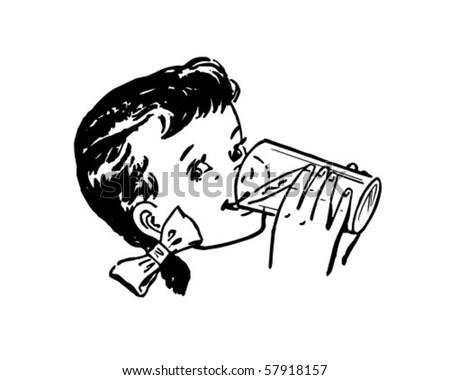 Girl Drinking Milk - Retro Clip Art