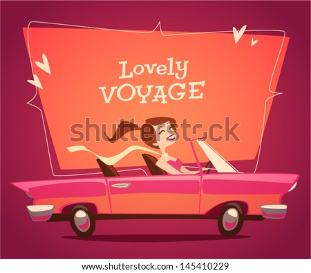 girl driving car vector retro