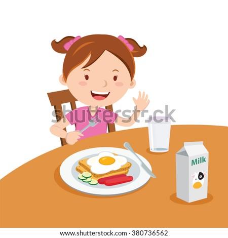 Girl eating breakfast. Vector illustration of a cute girl eating breakfast.