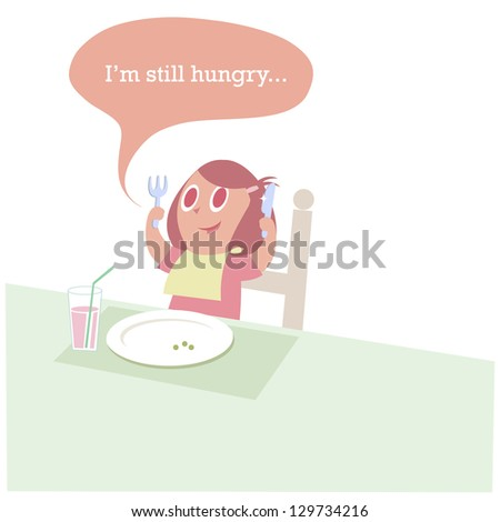 Girl eating her dinner with a knife and fork