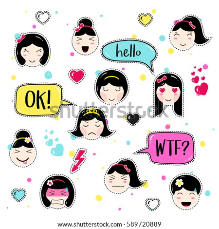 girl emoji with different