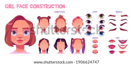 Girl face construction, avatar creation with different head parts isolated on white background. Vector cartoon set of young woman or child eyes, noses, brows and lips. Skin pack for face generator Stock photo ©